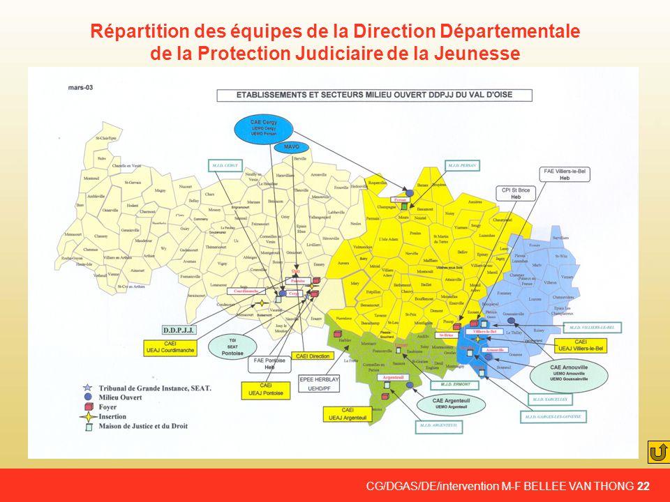CG/DGAS/DE/intervention M-F BELLEE VAN THONG 22 Répartition des équipes de la Direction Départementale de la Protection Judiciaire de la Jeunesse