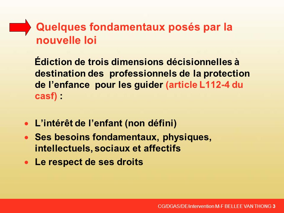 CG/DGAS/DE/intervention M-F BELLEE VAN THONG 3 Quelques fondamentaux posés par la nouvelle loi Édiction de trois dimensions décisionnelles à destinati