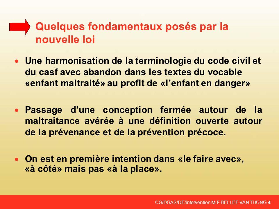 CG/DGAS/DE/intervention M-F BELLEE VAN THONG 4 Quelques fondamentaux posés par la nouvelle loi Une harmonisation de la terminologie du code civil et d