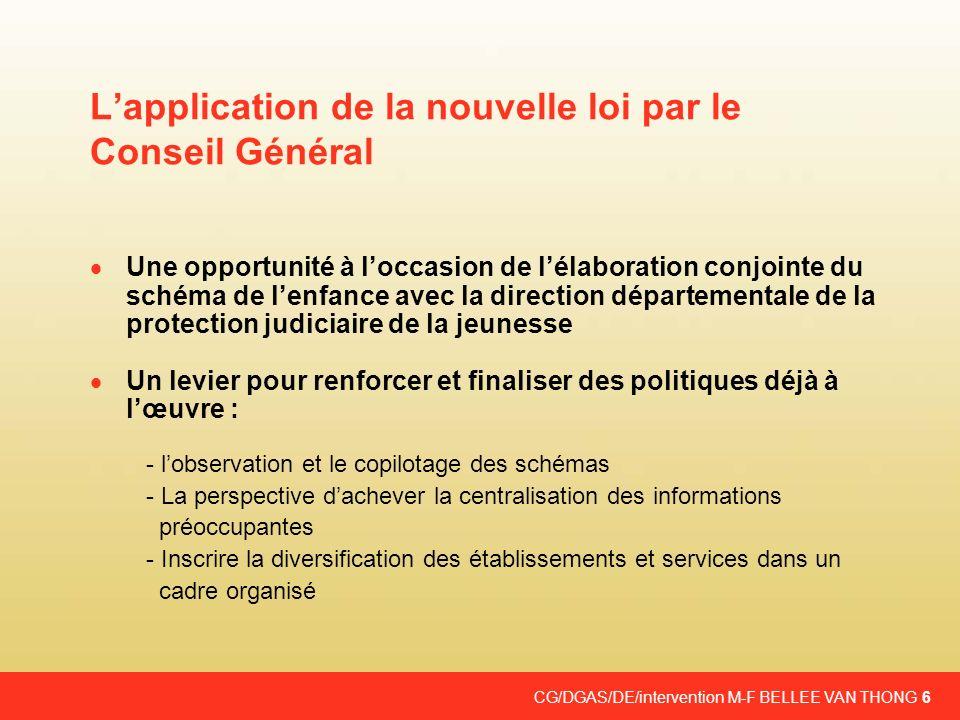 CG/DGAS/DE/intervention M-F BELLEE VAN THONG 6 Lapplication de la nouvelle loi par le Conseil Général Une opportunité à loccasion de lélaboration conj