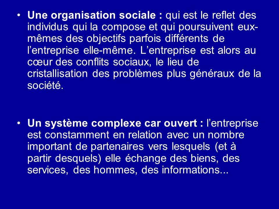 Une organisation sociale : qui est le reflet des individus qui la compose et qui poursuivent eux- mêmes des objectifs parfois différents de lentrepris