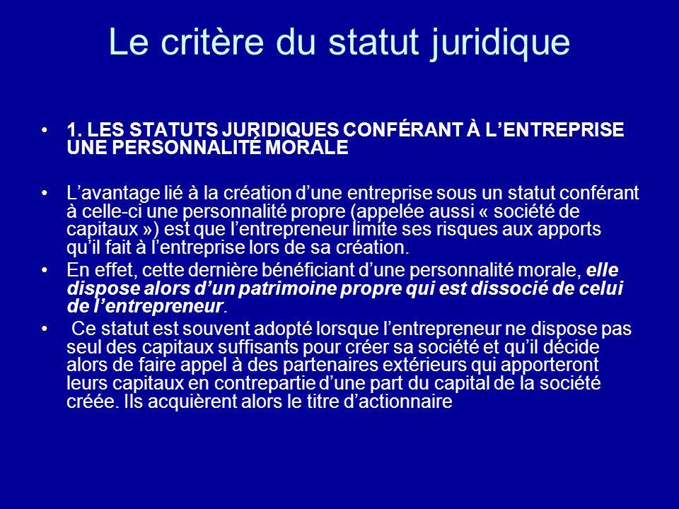 Le critère du statut juridique 1. LES STATUTS JURIDIQUES CONFÉRANT À LENTREPRISE UNE PERSONNALITÉ MORALE Lavantage lié à la création dune entreprise s