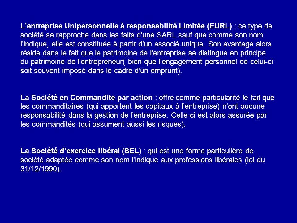 Lentreprise Unipersonnelle à responsabilité Limitée (EURL) : ce type de société se rapproche dans les faits dune SARL sauf que comme son nom lindique,