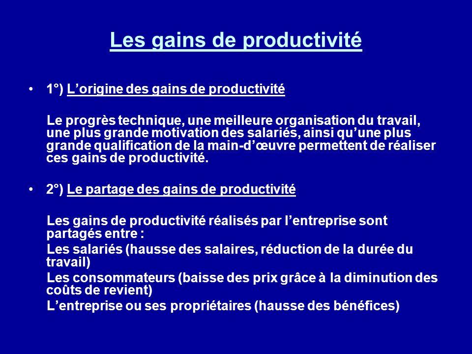 Les gains de productivité 1°) Lorigine des gains de productivité Le progrès technique, une meilleure organisation du travail, une plus grande motivati