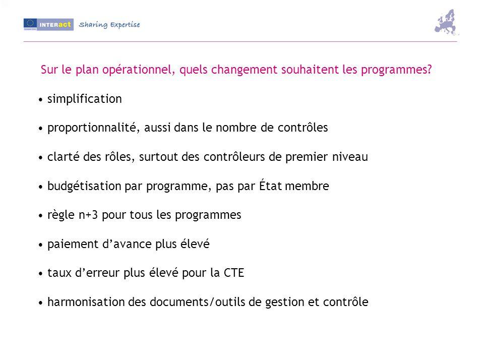 Sur le plan opérationnel, quels changement souhaitent les programmes.