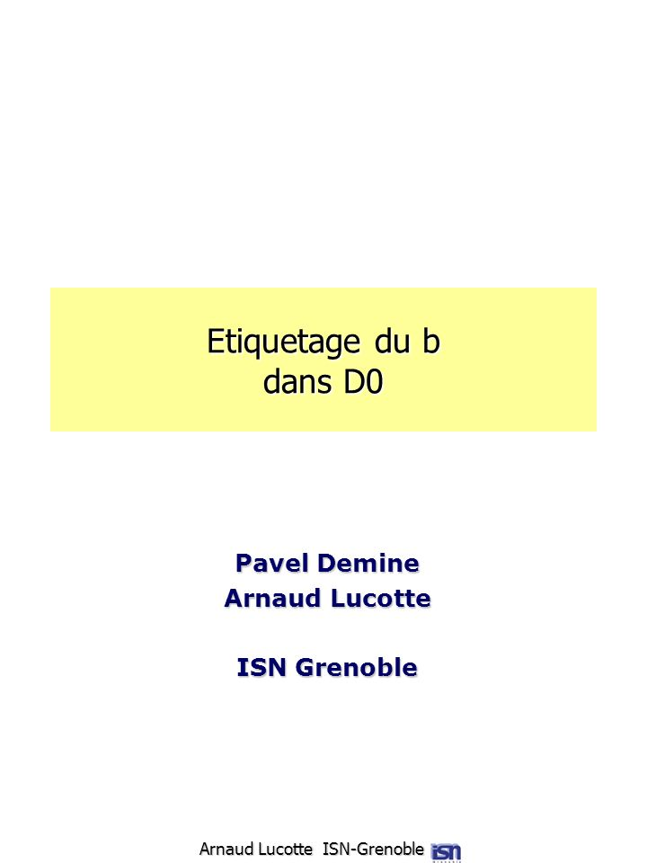 Arnaud Lucotte ISN-Grenoble Etiquetage du b dans D0 Pavel Demine Arnaud Lucotte ISN Grenoble