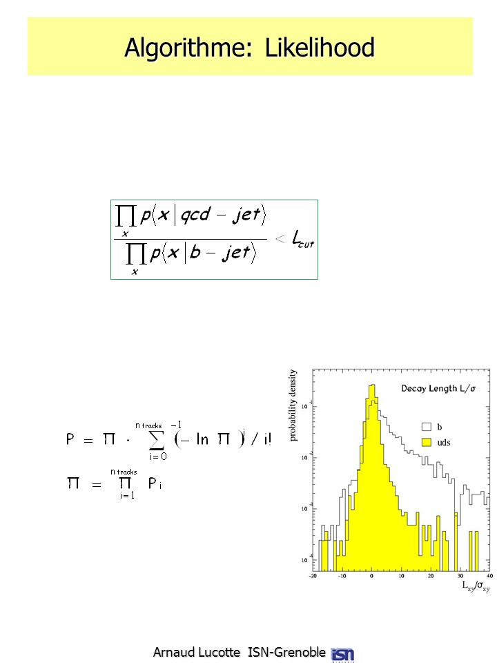 Arnaud Lucotte ISN-Grenoble Algorithme: Likelihood