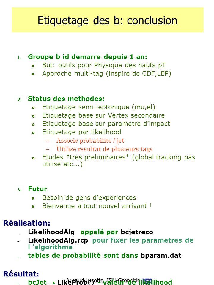 Arnaud Lucotte ISN-Grenoble Etiquetage des b: conclusion 1. Groupe b id demarre depuis 1 an: But: outils pour Physique des hauts pT Approche multi-tag