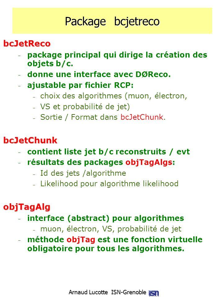 Arnaud Lucotte ISN-Grenoble Package bcjetreco bcJetReco package principal qui dirige la création des objets b/c. donne une interface avec DØReco. ajus