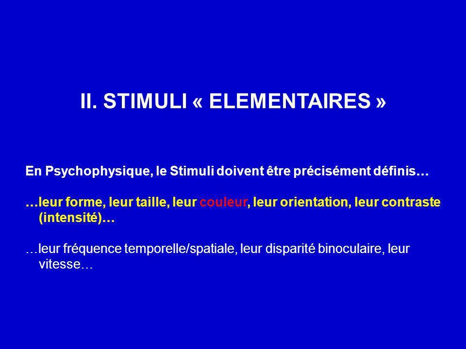 II. STIMULI « ELEMENTAIRES » En Psychophysique, le Stimuli doivent être précisément définis… …leur forme, leur taille, leur couleur, leur orientation,