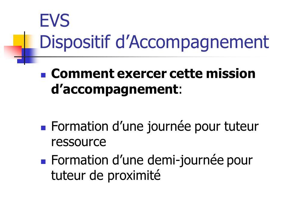 EVS Dispositif dAccompagnement Comment exercer cette mission daccompagnement: Formation dune journée pour tuteur ressource Formation dune demi-journée pour tuteur de proximité