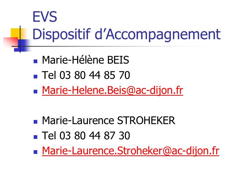 EVS Dispositif dAccompagnement Marie-Hélène BEIS Tel 03 80 44 85 70 Marie-Helene.Beis@ac-dijon.fr Marie-Laurence STROHEKER Tel 03 80 44 87 30 Marie-Laurence.Stroheker@ac-dijon.fr