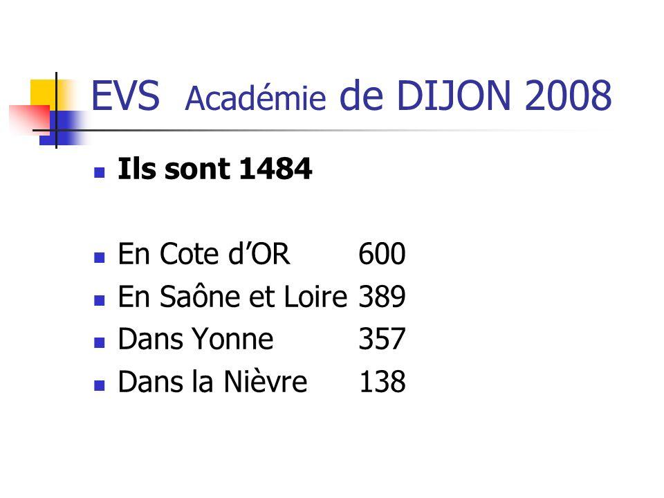EVS Académie de DIJON 2008 Ils sont 1484 En Cote dOR600 En Saône et Loire389 Dans Yonne357 Dans la Nièvre138
