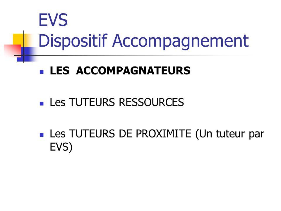 EVS Dispositif Accompagnement LES ACCOMPAGNATEURS Les TUTEURS RESSOURCES Les TUTEURS DE PROXIMITE (Un tuteur par EVS)