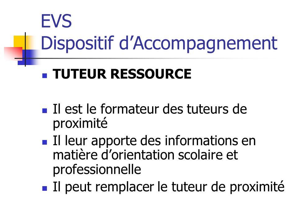 EVS Dispositif dAccompagnement TUTEUR RESSOURCE Il est le formateur des tuteurs de proximité Il leur apporte des informations en matière dorientation scolaire et professionnelle Il peut remplacer le tuteur de proximité