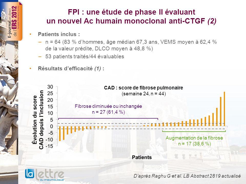 FPI : une étude de phase II évaluant un nouvel Ac humain monoclonal anti-CTGF (3) Résultats defficacité (2) : Daprès Raghu G et al.