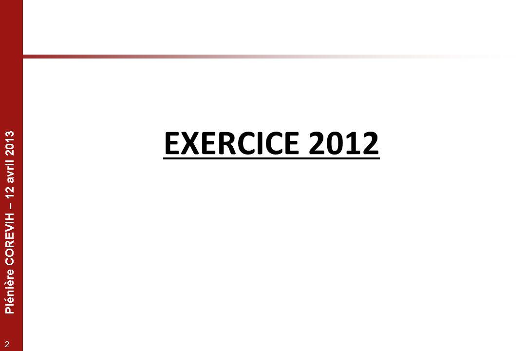 Plénière COREVIH – 12 avril 2013 2 EXERCICE 2012