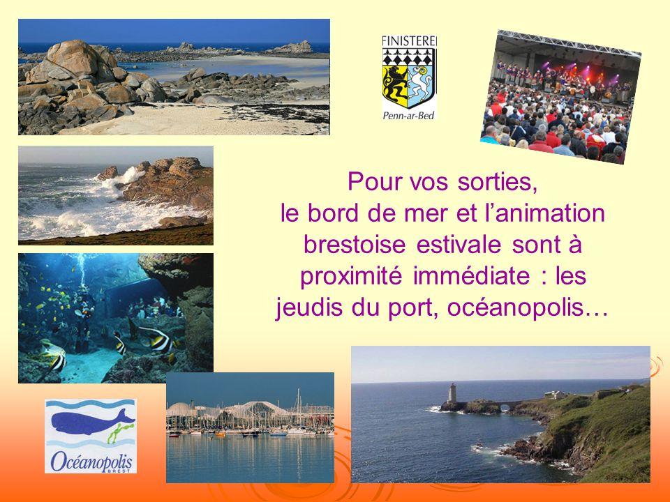 Pour vos sorties, le bord de mer et lanimation brestoise estivale sont à proximité immédiate : les jeudis du port, océanopolis…