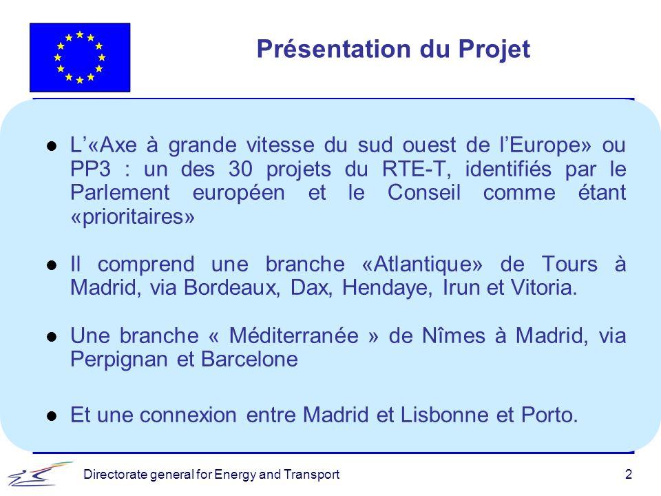 Directorate general for Energy and Transport2 Présentation du Projet l L«Axe à grande vitesse du sud ouest de lEurope» ou PP3 : un des 30 projets du R