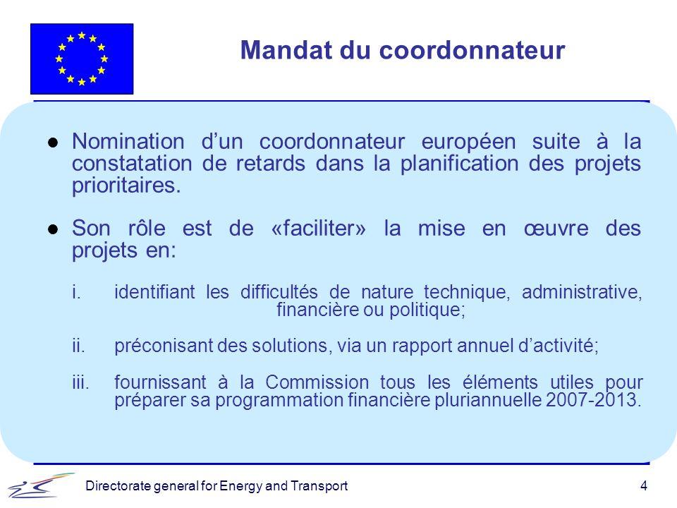 Directorate general for Energy and Transport4 Mandat du coordonnateur l Nomination dun coordonnateur européen suite à la constatation de retards dans la planification des projets prioritaires.
