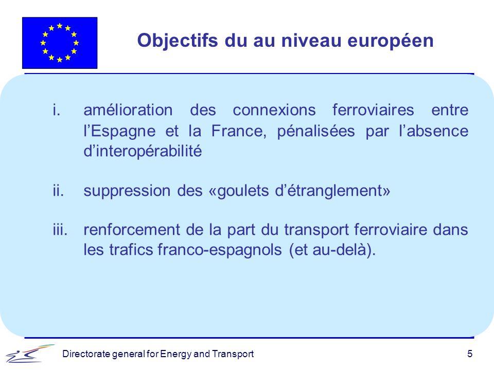 Directorate general for Energy and Transport5 i.amélioration des connexions ferroviaires entre lEspagne et la France, pénalisées par labsence dinterop