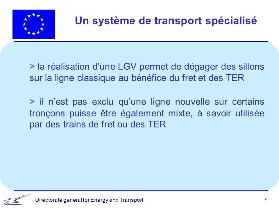 Directorate general for Energy and Transport7 Un système de transport spécialisé > la réalisation dune LGV permet de dégager des sillons sur la ligne