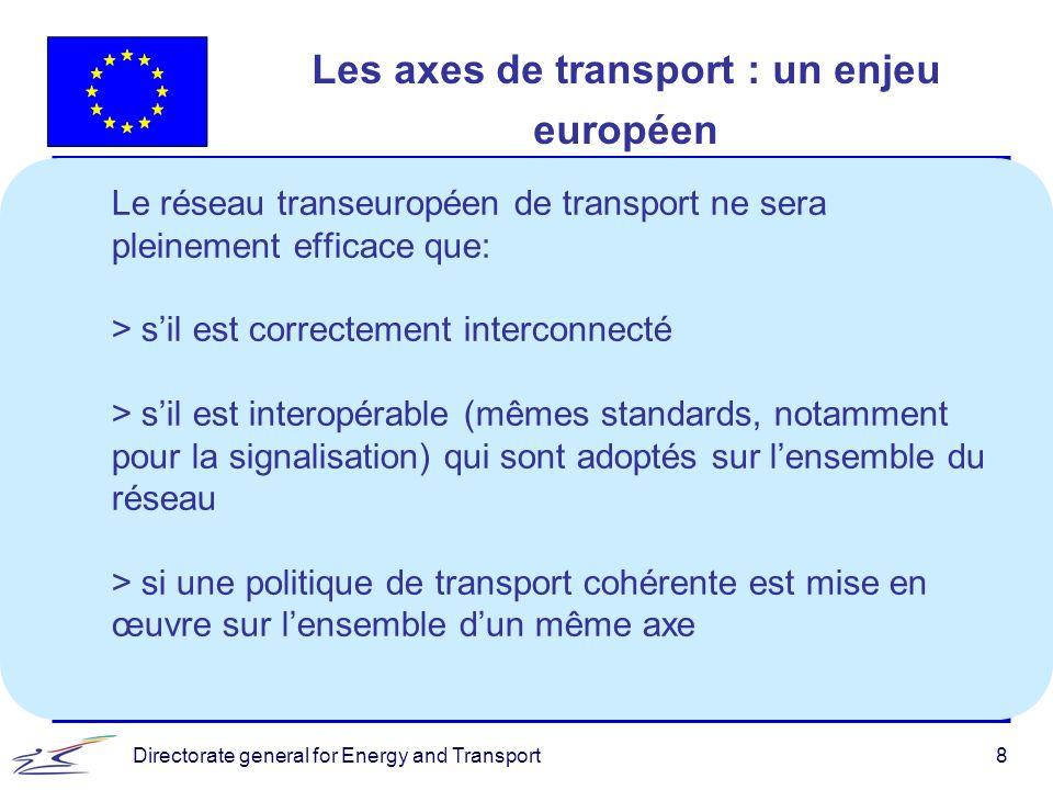 Directorate general for Energy and Transport8 Les axes de transport : un enjeu européen Le réseau transeuropéen de transport ne sera pleinement effica
