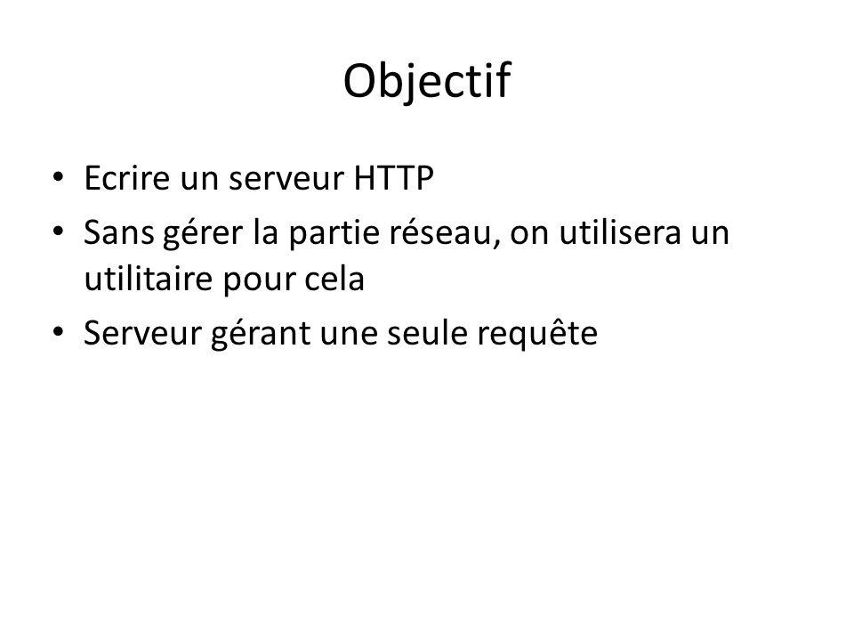 Objectif Ecrire un serveur HTTP Sans gérer la partie réseau, on utilisera un utilitaire pour cela Serveur gérant une seule requête