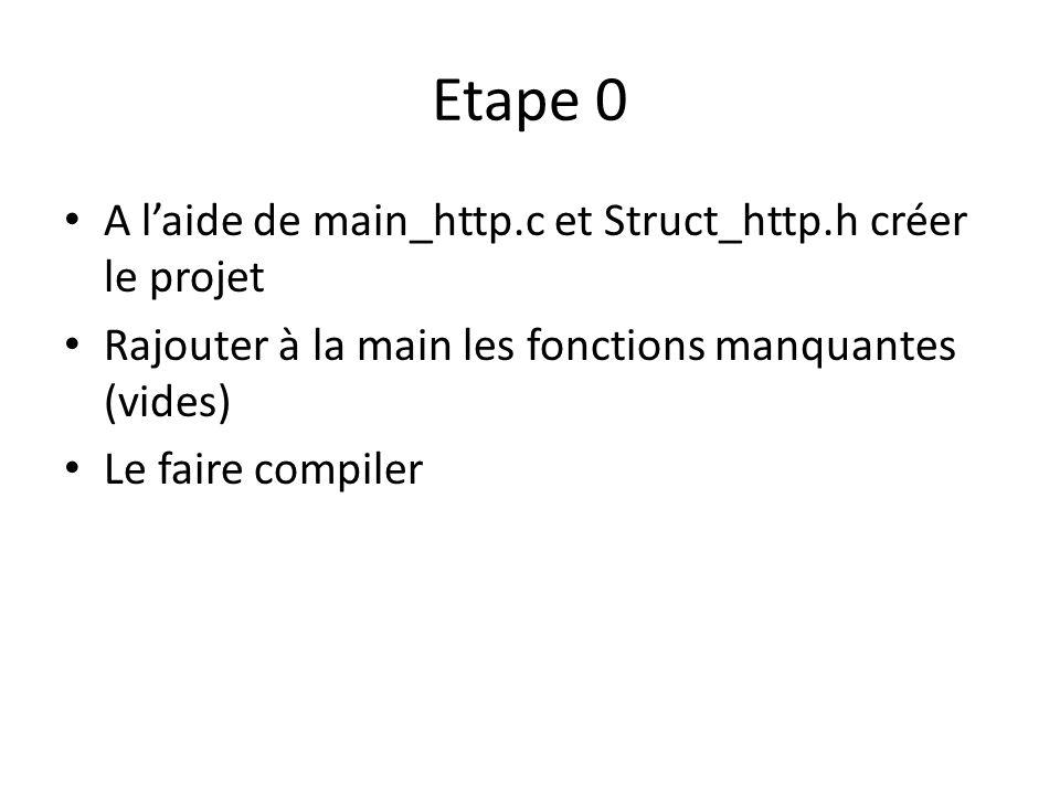 Etape 0 A laide de main_http.c et Struct_http.h créer le projet Rajouter à la main les fonctions manquantes (vides) Le faire compiler