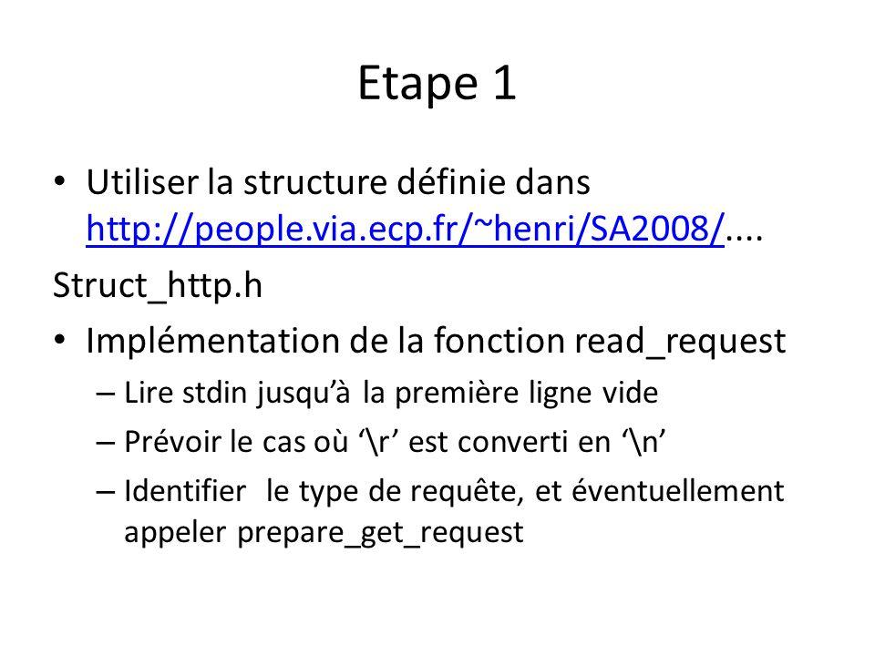 Etape 1 Utiliser la structure définie dans http://people.via.ecp.fr/~henri/SA2008/....