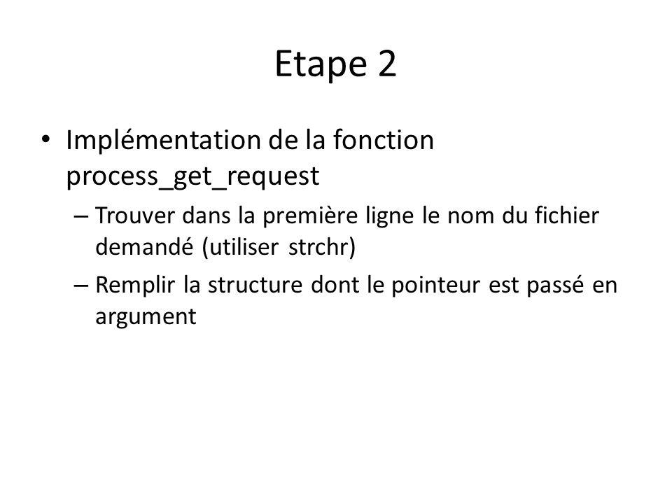 Etape 2 Implémentation de la fonction process_get_request – Trouver dans la première ligne le nom du fichier demandé (utiliser strchr) – Remplir la structure dont le pointeur est passé en argument