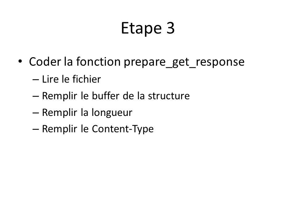 Etape 3 Coder la fonction prepare_get_response – Lire le fichier – Remplir le buffer de la structure – Remplir la longueur – Remplir le Content-Type