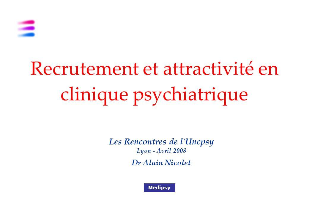 Les Rencontres de l Uncpsy Lyon - Avril 2008 Dr Alain Nicolet Médipsy Recrutement et attractivité en clinique psychiatrique
