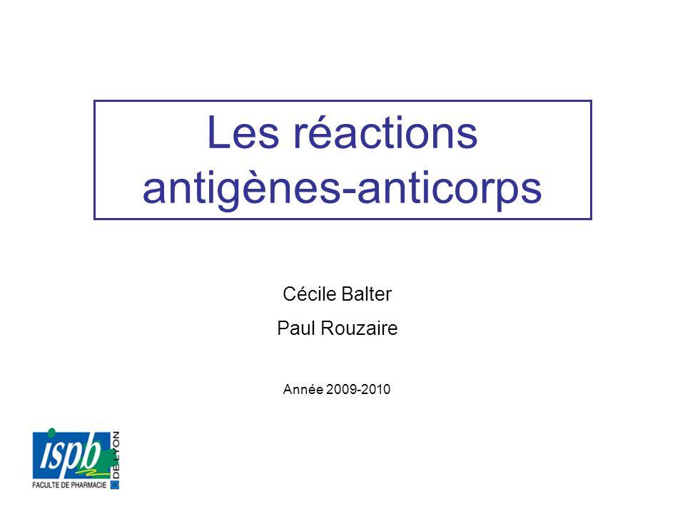 Les réactions antigènes-anticorps Cécile Balter Paul Rouzaire Année 2009-2010