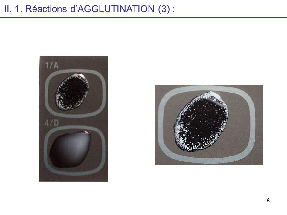 18 II. 1. Réactions dAGGLUTINATION (3) :