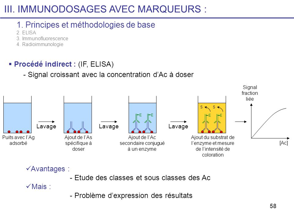 58 III. IMMUNODOSAGES AVEC MARQUEURS : 1. Principes et méthodologies de base 2. ELISA 3. Immunofluorescence 4. Radioimmunologie Procédé indirect : (IF