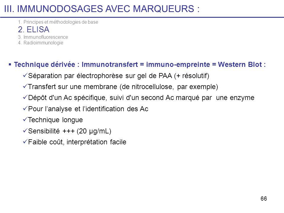 66 III. IMMUNODOSAGES AVEC MARQUEURS : Technique dérivée : Immunotransfert = immuno-empreinte = Western Blot : Séparation par électrophorèse sur gel d