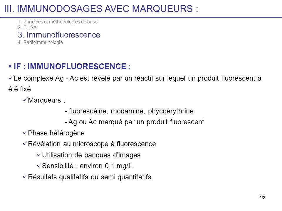 75 III. IMMUNODOSAGES AVEC MARQUEURS : 1. Principes et méthodologies de base 2. ELISA 3. Immunofluorescence 4. Radioimmunologie IF : IMMUNOFLUORESCENC