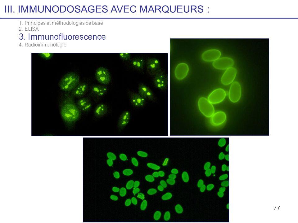 77 III. IMMUNODOSAGES AVEC MARQUEURS : 1. Principes et méthodologies de base 2. ELISA 3. Immunofluorescence 4. Radioimmunologie