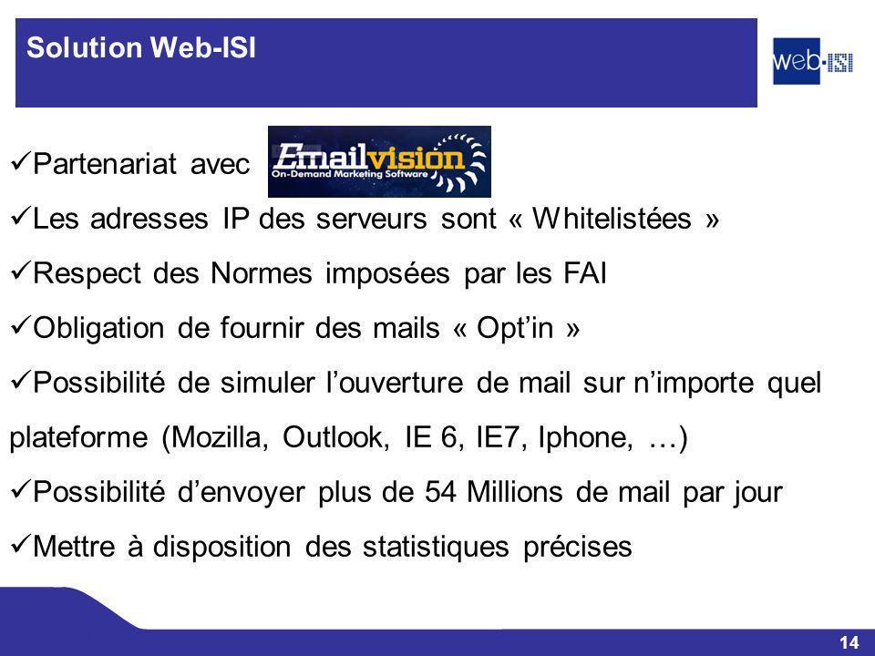 14 Web-ISI Solution Web-ISI Partenariat avec Les adresses IP des serveurs sont « Whitelistées » Respect des Normes imposées par les FAI Obligation de