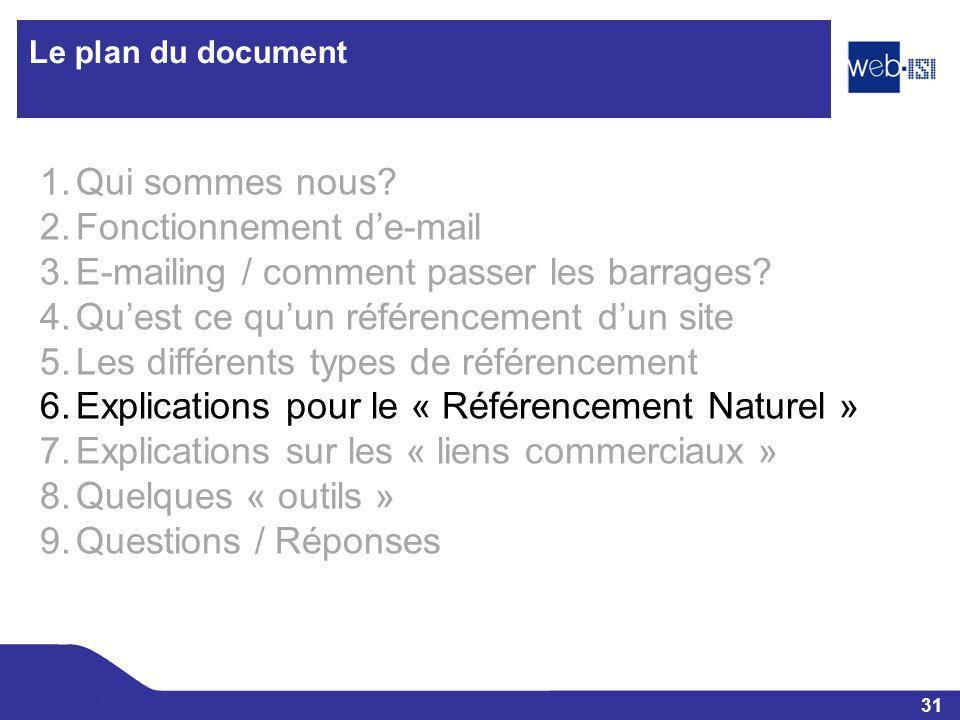 31 Web-ISI Le plan du document 1.Qui sommes nous? 2.Fonctionnement de-mail 3.E-mailing / comment passer les barrages? 4.Quest ce quun référencement du