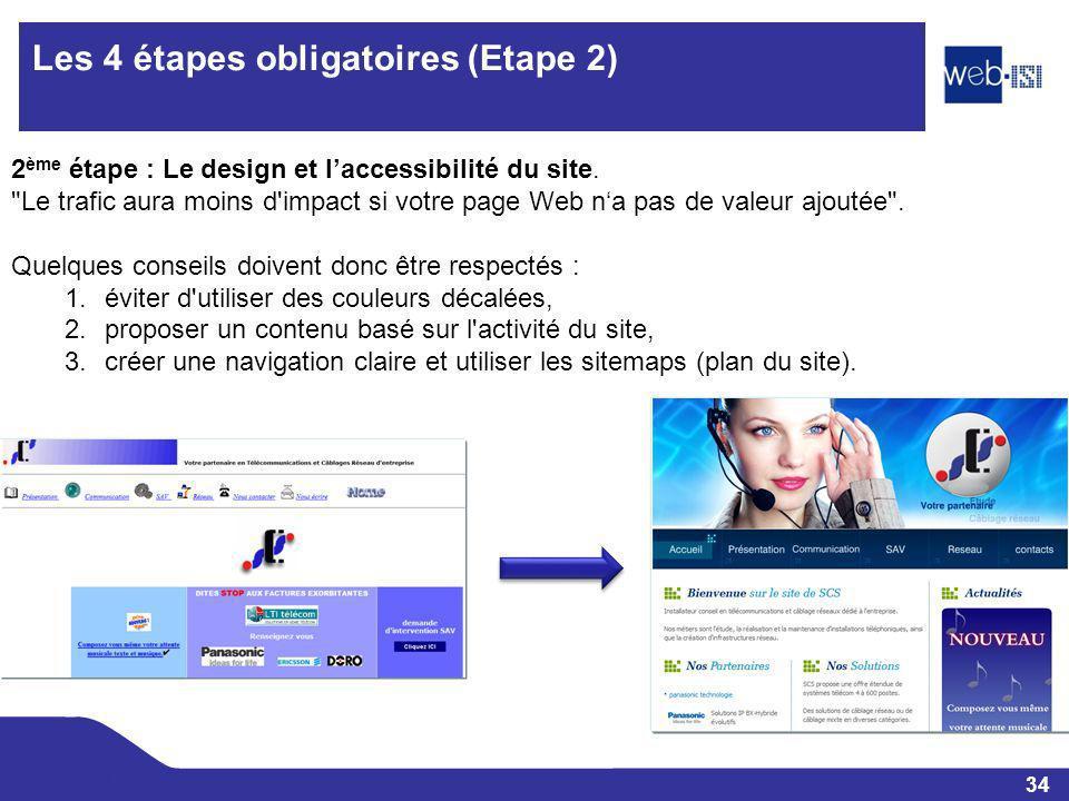 34 Web-ISI Les 4 étapes obligatoires (Etape 2) 2 ème étape : Le design et laccessibilité du site.