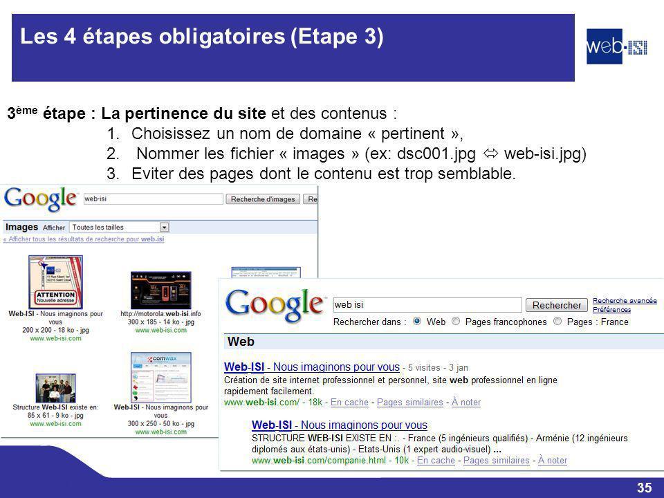35 Web-ISI Les 4 étapes obligatoires (Etape 3) 3 ème étape : La pertinence du site et des contenus : 1.Choisissez un nom de domaine « pertinent », 2.