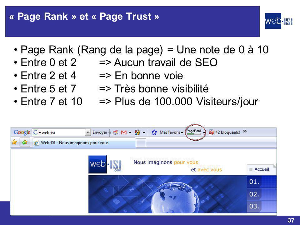 37 Web-ISI « Page Rank » et « Page Trust » Page Rank (Rang de la page) = Une note de 0 à 10 Entre 0 et 2 => Aucun travail de SEO Entre 2 et 4=> En bon