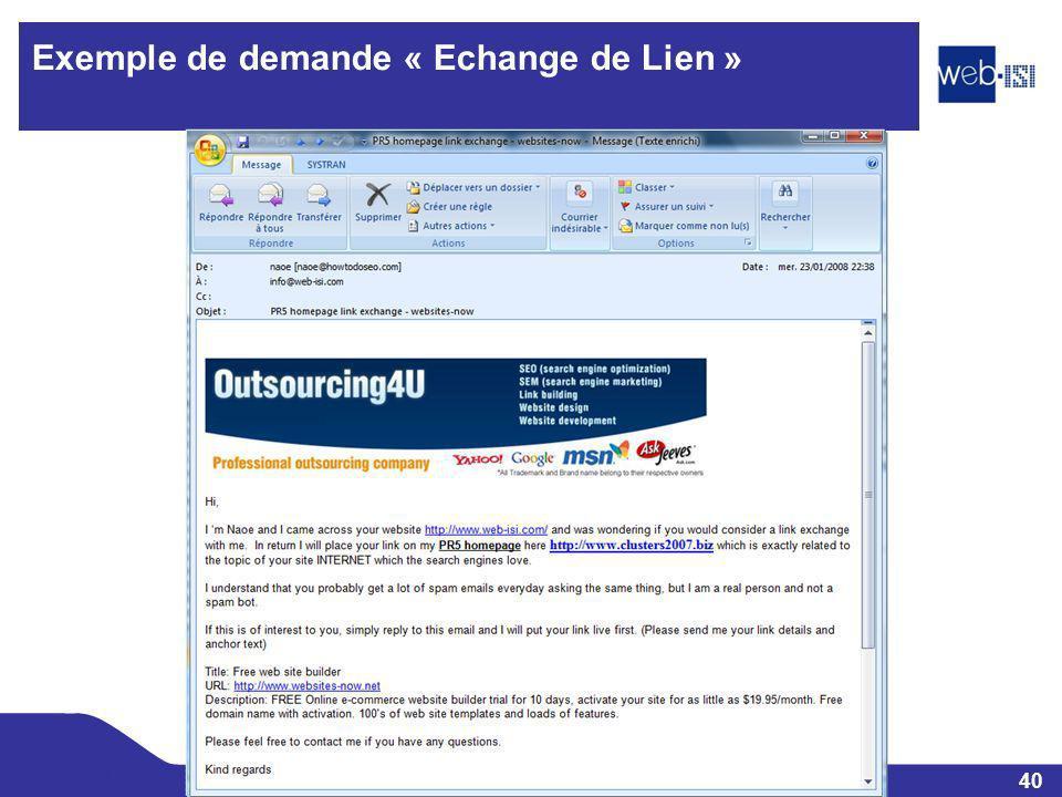 40 Web-ISI Exemple de demande « Echange de Lien »