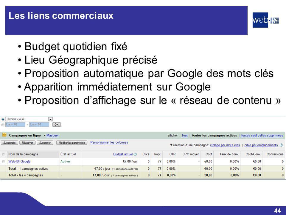 44 Web-ISI Les liens commerciaux Budget quotidien fixé Lieu Géographique précisé Proposition automatique par Google des mots clés Apparition immédiate