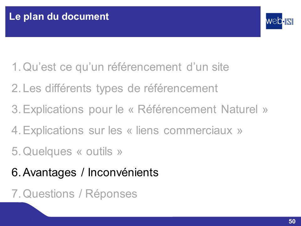 50 Web-ISI Le plan du document 1.Quest ce quun référencement dun site 2.Les différents types de référencement 3.Explications pour le « Référencement N