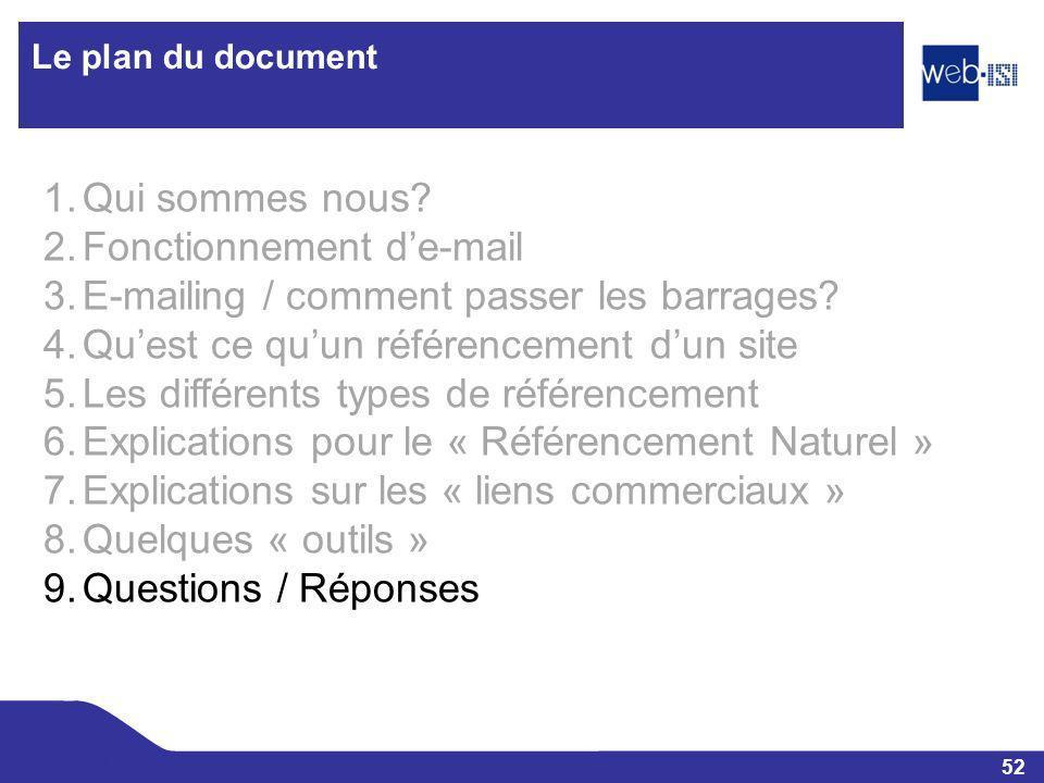 52 Web-ISI Le plan du document 1.Qui sommes nous? 2.Fonctionnement de-mail 3.E-mailing / comment passer les barrages? 4.Quest ce quun référencement du