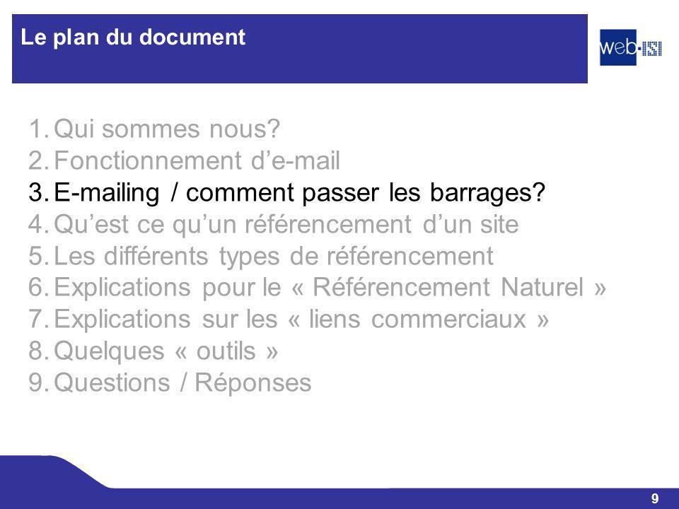 9 Web-ISI Le plan du document 1.Qui sommes nous? 2.Fonctionnement de-mail 3.E-mailing / comment passer les barrages? 4.Quest ce quun référencement dun