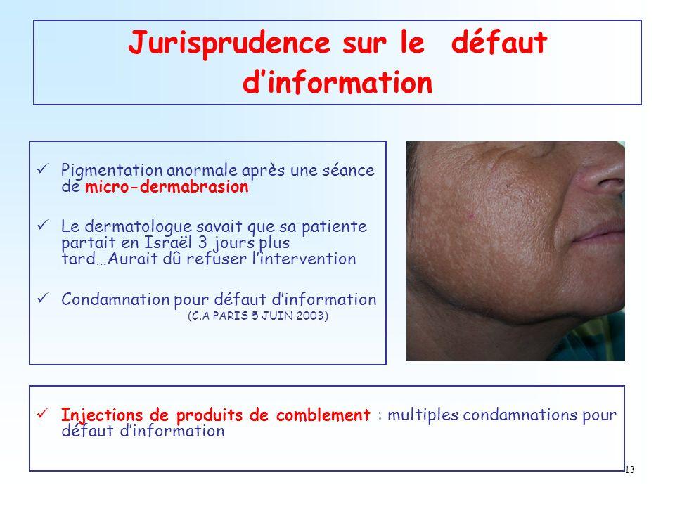 13 Jurisprudence sur le défaut dinformation Pigmentation anormale après une séance de micro-dermabrasion Le dermatologue savait que sa patiente partai